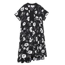 Женское длинное платье EAM, белое шифоновое платье с принтом и коротким рукавом, с треугольным вырезом, весна-лето 2020, 1X291(Китай)