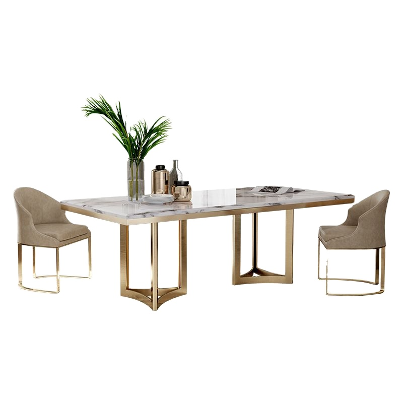Modern Design Gold Stainless Steel Luxury Dining Table Set Luxury 6 8 Chairs Modern Rectangle Marble Dining Table Set Buy Modern Design Dining Table Sets Marble Dining Round Table And Chair Set Stainless Steel