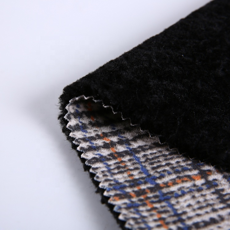 Warm Plaid Faux Fur Bonded With Printing Cheap For Garment 100% Polyester Suede Fabric Interlock