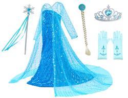 Платье принцессы Эльзы Анны для косплея для девочек, костюм с короной и волшебной палочкой