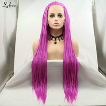 Розовый/розовый красный/Блонд/зеленый/ярко-желтый парик для женщин жаростойкий Синтетический Плетеный ящик парики из косичек Sylvia(Китай)