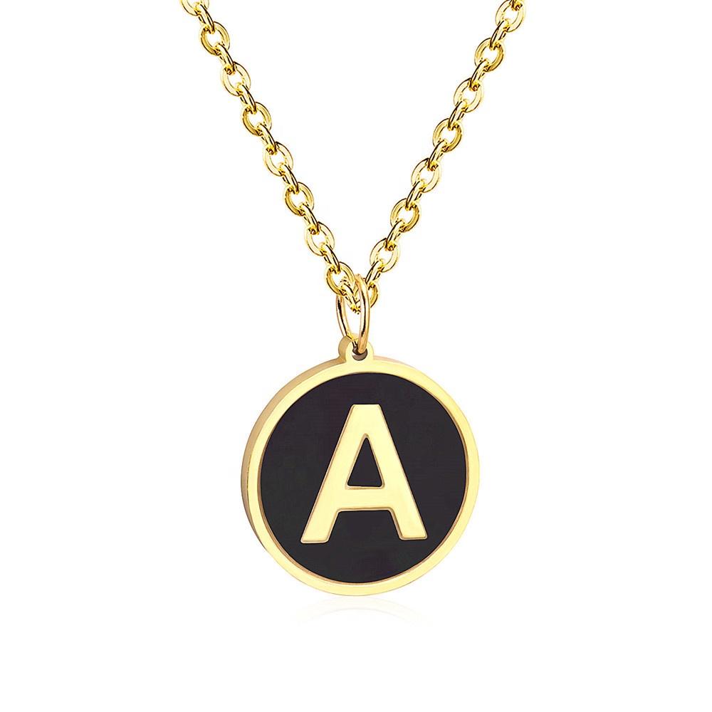 2020 americano e Europeu das mulheres da menina Design de Moda Corrente de Ouro Inicial Letra de A a Z 26 preto shell Charme belas colares de jóias