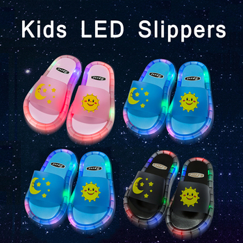 OEM Fashion Slippers for Kids LED Flip Flops Children Sun Moon Cartoon Cute Shoes Children's Slippers Support Customization