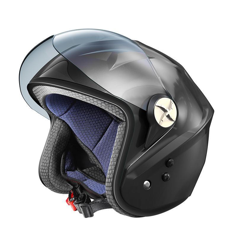 Intelligent Bt locomotive half helmet four seasons electric vehicle motorcycle helmet summer fan safety helmet solar ener
