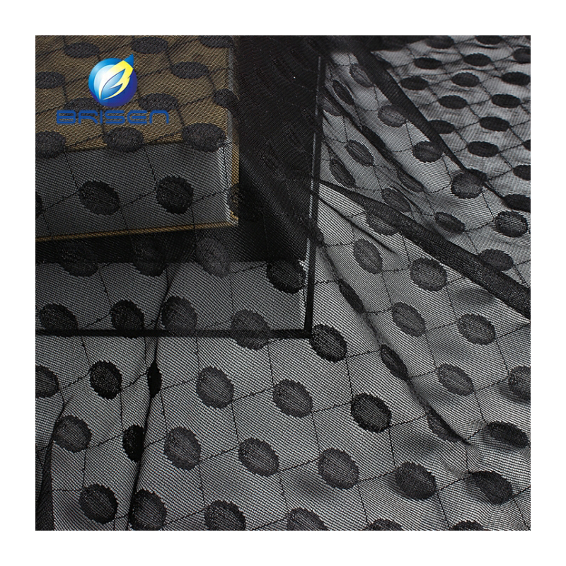 wholesale price polyester soft Black Dot Mesh Fabrics
