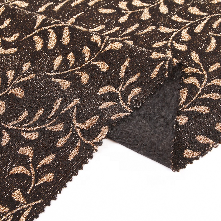 Factory Wholesale Brown Leaves Jacquard Dyed Gold Buy Metallic Jersey Knit Fabric
