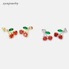 Earrings Jewelry Sweet Fruit Earrings Cherry Fine Jewelry Stud Earrings Gold Plated Earrings