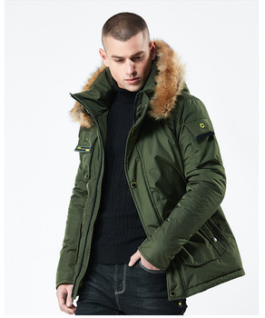 2019 Winter New Thicken Loose Windproof Big Pocket Men's Fur Collar Removable Hooded Army Green Cardigan Cotton Jacket