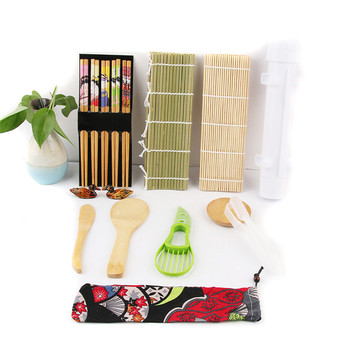 Professional Luxury Japanese Traditional Sushi Tool Wood Bamboo Sushi Making Kit Set at Home
