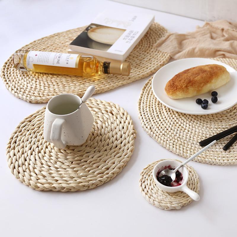Tấm Lót Đĩa Cách Nhiệt Cho Bàn Ăn, Tấm Lót Đĩa Hình Tròn Bằng Tre Dệt Cỏ Biển Tùy Chỉnh