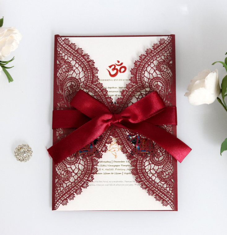 European Style Dark Red Lace Indian Wedding Cards Invitation Buy Wedding Invitation Card Wedding Invitations Indian Wedding Cards Invitation Product On Alibaba Com