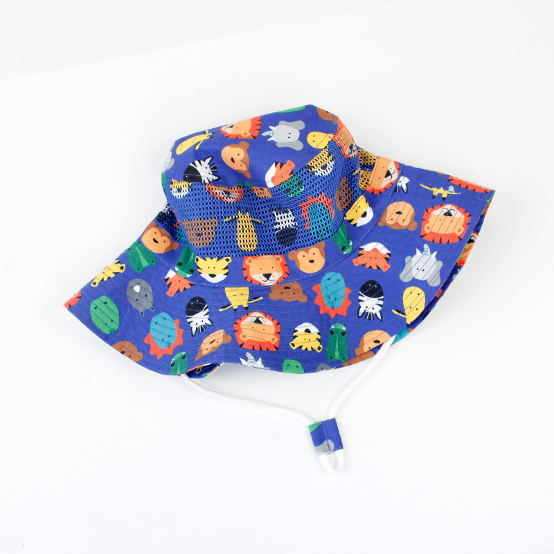Boys Summer Cotton Mesh Beach Bucket hats Hot Kids Safari Hat