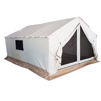 Outdoor glamping cotton canvas frame safari tent family wall tent for camping