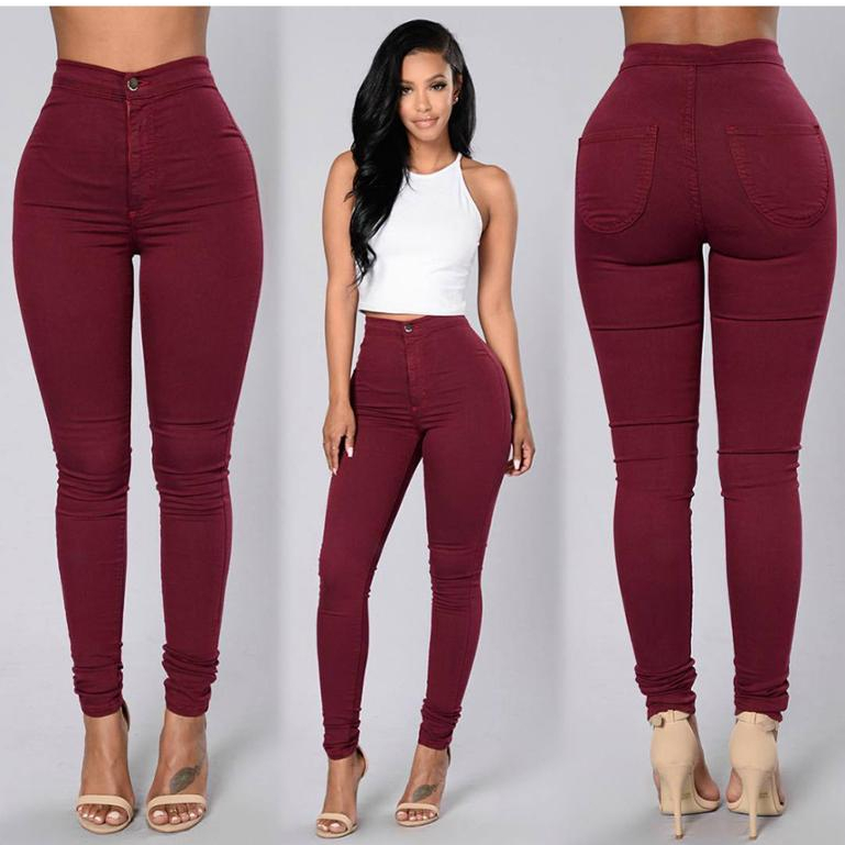 Wholesale Custom Women Stretch High Waist Candy Color Skinny Solid Color Pants Trousers Women Pencil Casual Pants