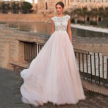 Розовое свадебное платье 2020 с глубоким вырезом Boho Свадебное платье с кружевной аппликацией размера плюс пляжное Свадебное Платье vestidos de noiva(Китай)