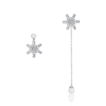 Mismatched design white gold pearl Sterling silver snowflake earrings for girls