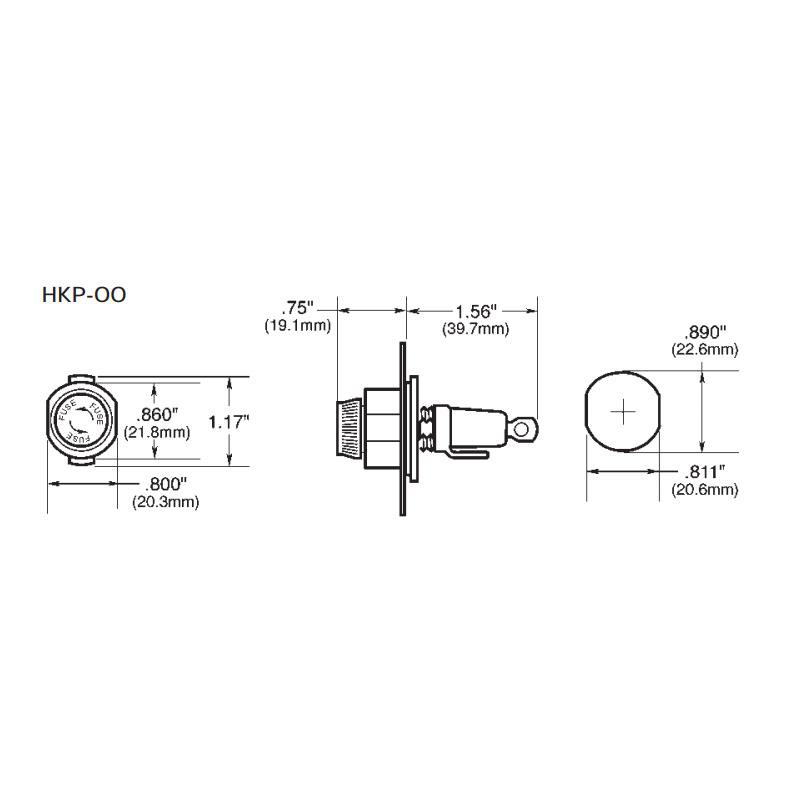 250V HKP Series Bussmann Fuse Holder For 1/4 Inch x 1 1/4 Inch Panel mount fuse holder