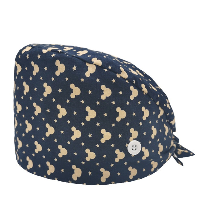 J310 In Stock Hot Sell Fashion Flower Print Caps Trendy Wrap Hair Dustproof Hats With Prevent Earache Buttons