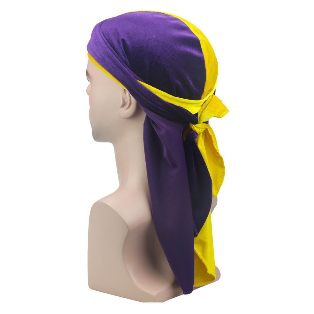 Q523 Velvet Durags Bandana Turban Hat Wigs Doo Double Colors Durag Biker Headwear Headband Pirate Hat Other Hats