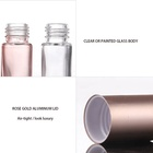 Perfume Rose Perfume Roll On Bottle Beautiful Cosmetic Essential Oil Perfume Container Rose Gold 10ml Glass Roll On Bottle With Aluminium Lid