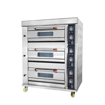 Industrial Bakery Machine Cake Bread Pizza Baking 3 Deck Gas Oven Prices