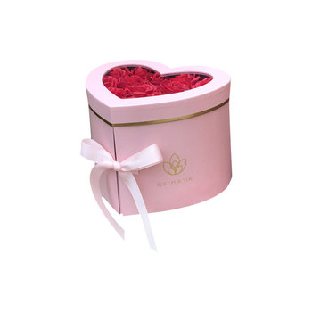 wholesale heart shape double layer wedding rose flowers drawer gift box