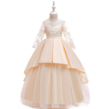 FSMKTZ European Style Lace Princess Evening Dress Wedding Party Birthday Frock 4-15Y Costume Girls Dress LP-233