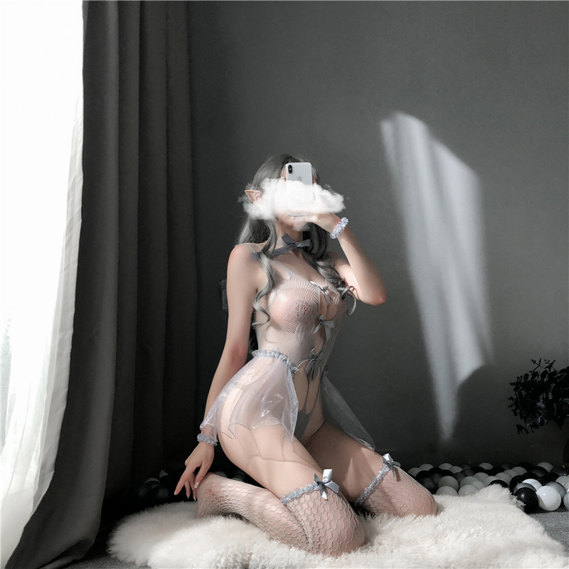 hot women crotchless transparent erotic lingerie japanese girl sexy cosplay costume