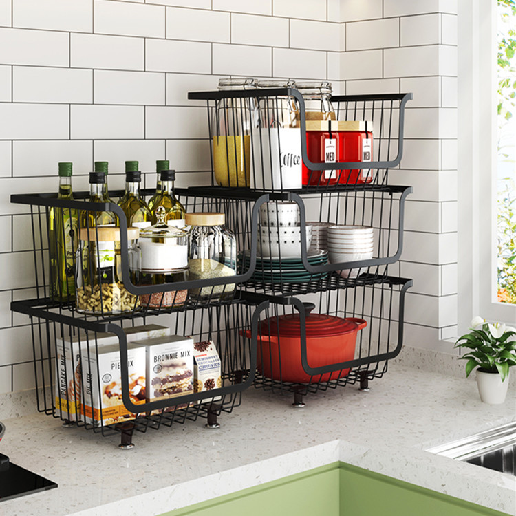 Stacking Wire Market Basket Fruit And Vegetable Production Metal Storage Box Kitchen Counter Buy Metal Storage Bin Market Basket Fruit Vegetable Basket Product On Alibaba Com