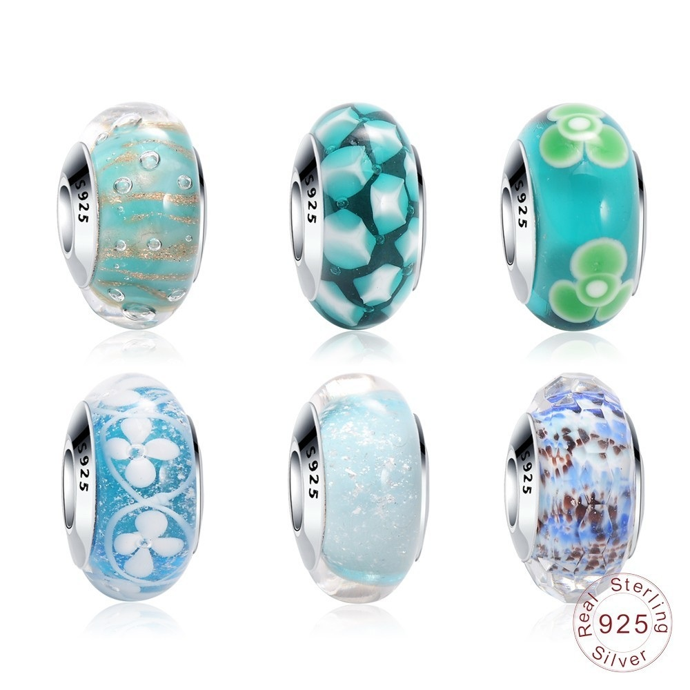 european charm Murano glass bead Light blue charm bead sterling silver large hole charm unique gift for women Light blue glass charm bead