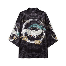 Летний черный самурайский традиционный кимоно японского аниме одежда кардиган косплей для мужчин женщин юката Женская рубашка блузка(Китай)