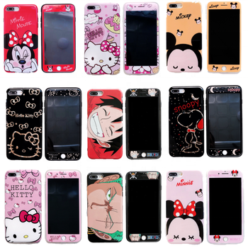 Cute cartoon monster design Mickey Kitty luffy tpu soft phone case and protective glass for iphone