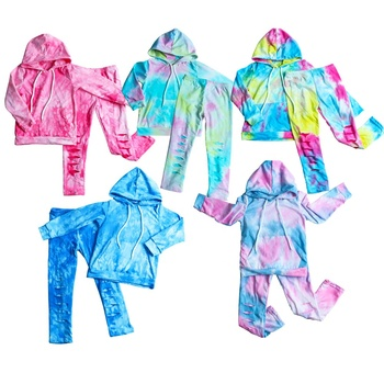 Wholesale Kids Clothing Girl Hooded Top Toddler Girl Clothes Pink Trendy Clothing Toddler Leggings Sets Girl Tie-Dyed Clothes