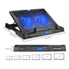 Игровой охлаждающий коврик TeckNet для ноутбука, 2 вентилятора со светодиодным экраном, охлаждающая подставка для ноутбука 12-17 дюймов, MacBook Cooler(Китай)