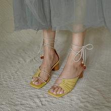 Женские сандалии FEDONAS, на толстом каблуке, из натуральной кожи, с перекрестной шнуровкой, на лето, 2020(Китай)