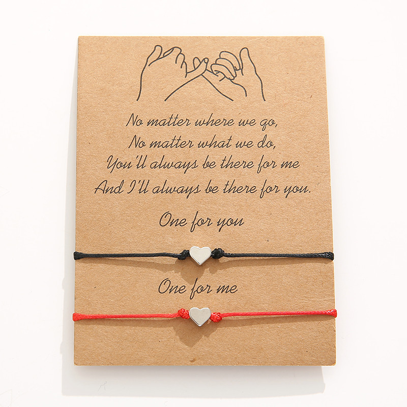 Wish Bracelet Follow Your Heart Costume Jewellery Gift For Best Friend Wish Card Wish String Heart Bracelet Charm Bracelet Cord Bracelet