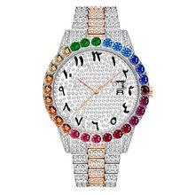 MISSFOX 44 мм большой циферблат Радуга алмаз Rolexable часы для женщин Лидирующий бренд Роскошные часы для женщин водонепроницаемые 18 К золотые нару...(Китай)