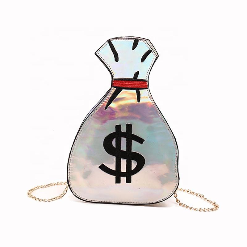 Лидер продаж, повседневная сумка INEO для вечеринок, женская дизайнерская сумка для денег, блестящая женская ручная сумка из искусственной кожи с лазерным принтом долларов