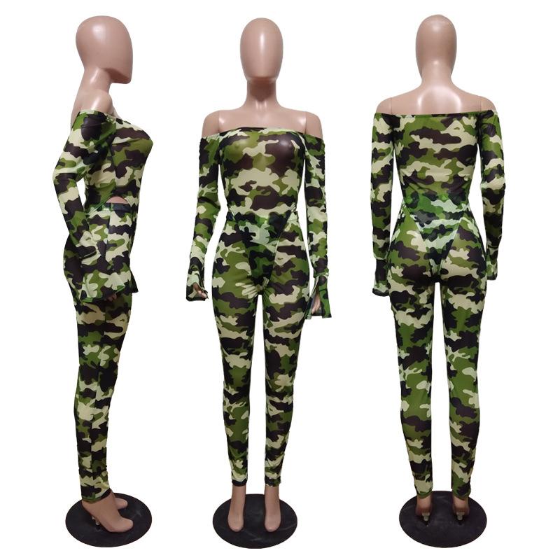 Сетчатый Леопардовый Камуфляжный комплект из двух предметов; женская праздничная одежда; сексуальный комбинезон; топ и брюки; комплект из 2 ...(Китай)