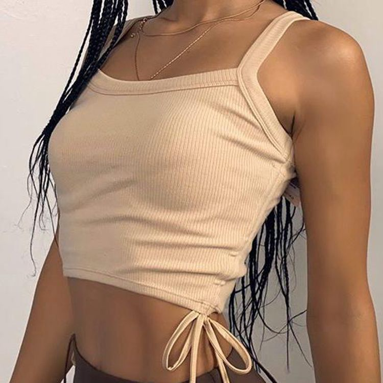2021 Spring And Summer Hot Sales Pure Color Sexy Crop Top  Custom Vest Women Tops
