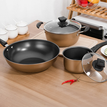 Kitchen cooking cookware set iron nonstick pots and pans set