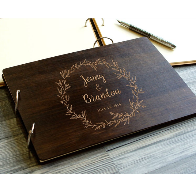 Wholesale Custom Engraved Guest Book Wooden Signature Frame Wedding Decoration Personalized Custom Monogram Guest Book Buy Custom Monogram Guest Book Wooden Signature Frame Wedding Decor Wooden Notebook Album Custom Name