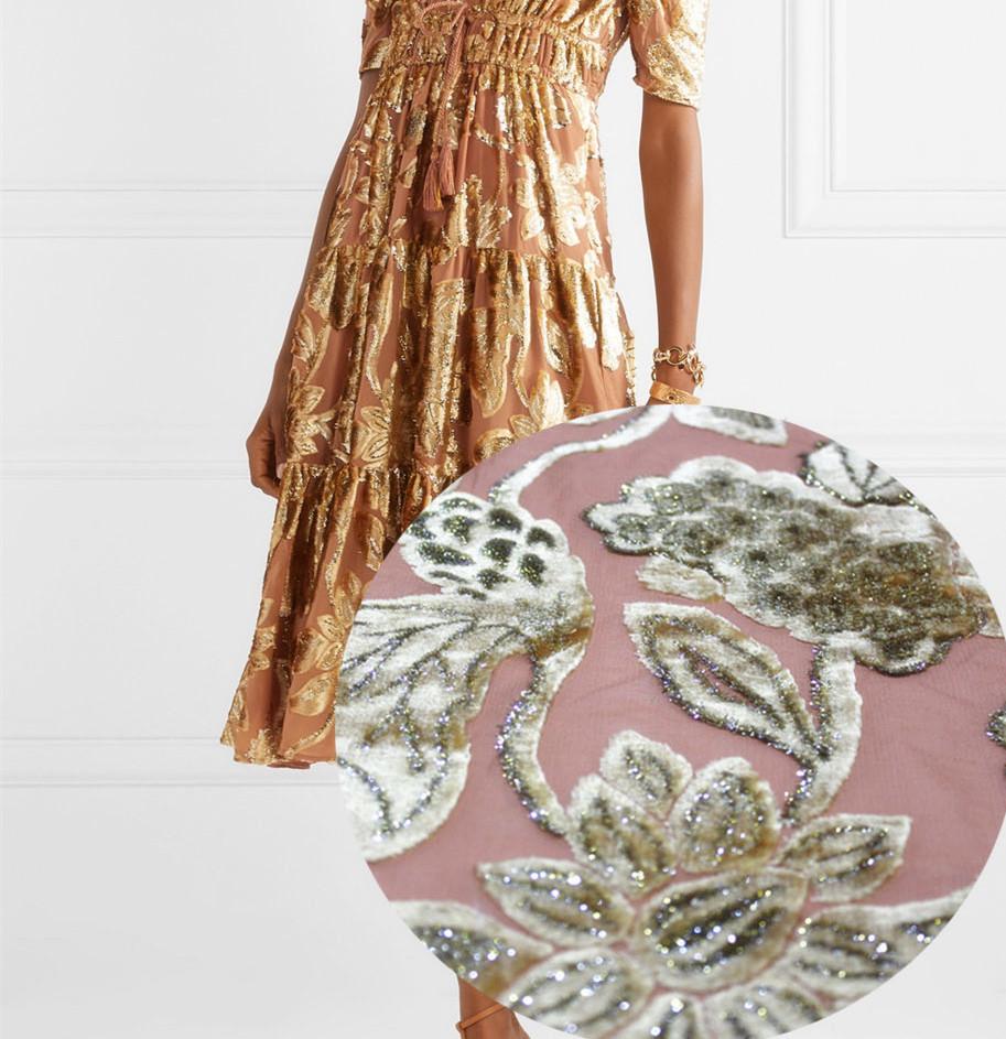 Glod Flower Jacquard Elegant Dress