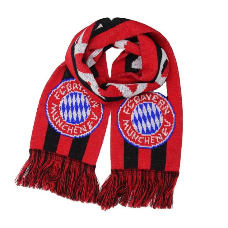 Bayern acryilc knit jacquard football scarf hot sale football fan scarf custom