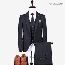 Мужской костюм, клетчатый тонкий костюм, пиджак, мужские костюмы с брюками, Приталенный жилет, смокинг, свадебные костюмы жениха (пиджак + бр...(China)