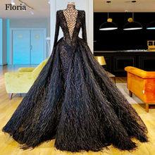 Женское вечернее платье с перьями, роскошное черное платье с кристаллами, длинное платье для выпускного вечера, вечерние платья(Китай)