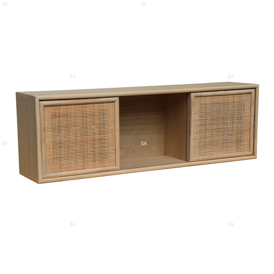Minimalist Natural Rattan Coffee Table with Rack