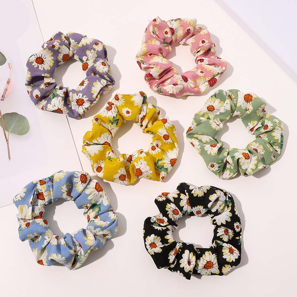 Wholesale New ribbon hair scrunchies Daisy digital printing large intestine loop hair rope for women hair accessories
