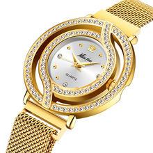 MISSFOX магнитные часы женские роскошные брендовые водонепроницаемые женские часы с бриллиантами полые синие кварцевые элегантные золотые же...(China)
