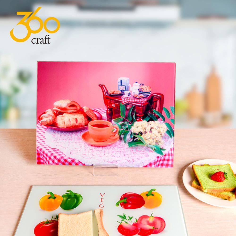 Hot Sale Kitchen Decorative Heat Resistant Custom Logo Clear Glass Cutting Board